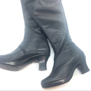 Dansko Black Leather Boots 39 Knee High